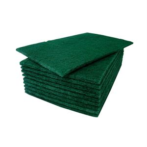 "Green scouring pads 9"" x 6"" (x10)"