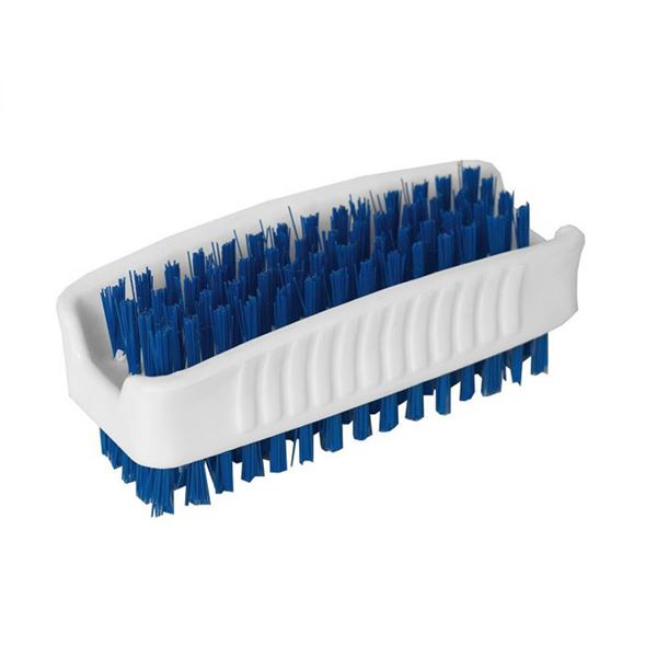 White Nail Brush with Blue Bristles 3.5""