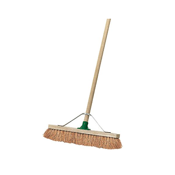 "18"" Wooden Broom Soft Coco Stayed Handle Complete"