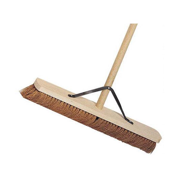 "24"" Wooden Broom Soft Coco Complete Stayed Handle"